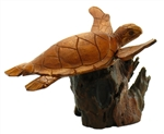 HAND CARVED WOOD SWIMMING SEA TURTLE ON DRIFTWOOD BASE