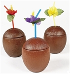2-PIECE PLASTIC COCONUT MUGS / SET OF 12