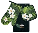 3 PC KITCHEN TOWEL SET - BLACK PLUMERIA PALM