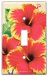 RED HIBISCUS DESIGN SWITCH PLATE COVER