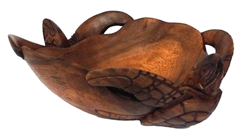 Large Hand Carved Wood Double Honu Sea Turtle Bowl