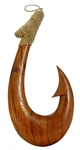 "16"" HAND CARVED WOOD MAKAU FISH HOOK"