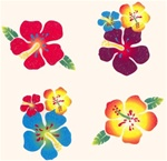 HIBISCUS GLITTER TATTOOS/PACK OF 72