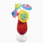COCKTAIL PARASOL PICKS W/ LARGE HIBISCUS PRINT FLOWERS/144