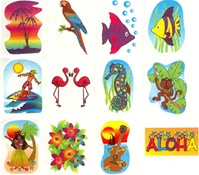 TROPICAL GLITTER TATTOOS/PACK OF 72 - SALE