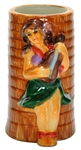HULA GIRL PALM CERAMIC TUMBLER