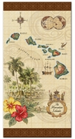BEACH TOWEL - HAWAIIAN ISLANDS CREST & MAP