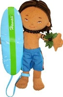 "8.5"" KEANU HAWAIIAN BOY SURFER BOY DOLL"