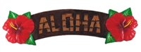 HAND CARVED PAINTED WOOD HIBISCUS ALOHA SIGN