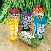 COLORFUL HIBISCUS TUMBLERS/12