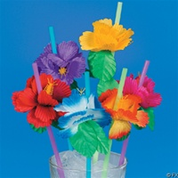 SILK HIBISCUS FLOWER STRAW/12