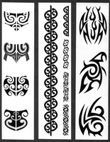 WOMEN'S MAORI MOKO CHIN & BODY TEMPORARY TATTOOS / SET OF 12