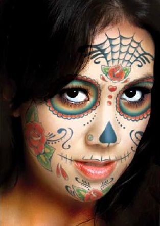 17cef50e8 day of the dead sugar skull full face temporary tattoo kit