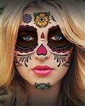 FLORAL DAY OF THE DEAD SUGAR SKULL FULL FACE TEMPORARY TATTOO KIT (1