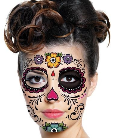 floral day of the dead sugar skull full face temporary tattoo kit 1. Black Bedroom Furniture Sets. Home Design Ideas