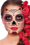 RED ROSES DAY OF THE DEAD SUGAR SKULL FULL FACE TEMPORARY TATTOO KIT (1