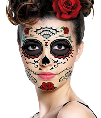 red roses day of the dead sugar skull full face temporary tattoo kit 1. Black Bedroom Furniture Sets. Home Design Ideas