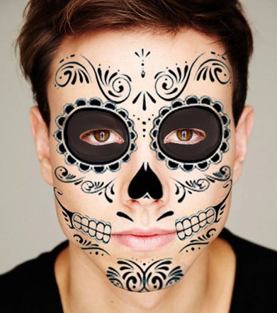black skeleton day of the dead temporary face tattoo kit 1. Black Bedroom Furniture Sets. Home Design Ideas