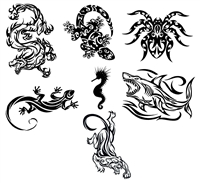 TRIBAL ANIMALS TEMPORARY TATTOOS / SET OF 7