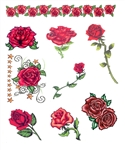 DAY OF THE DEAD RED ROSES TEMPORARY TATTOOS - Set of 9