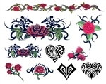 DAY OF THE DEAD TRIBAL HEARTS & ROSES TEMPORARY TATTOOS - Set of 9