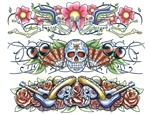 DAY OF THE DEAD BODY BAND TEMPORARY TATTOOS - Set of 3