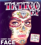 DAY OF THE DEAD CANDY SKULL FULL FACE TEMPORARY TATTOO KIT (1)