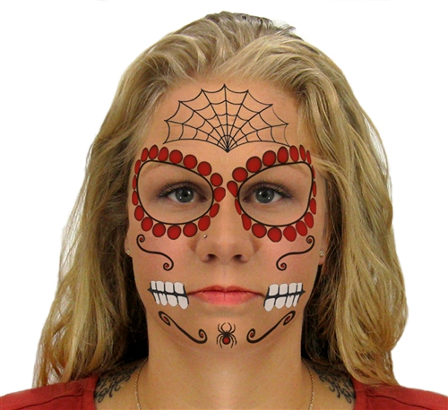 ce01661c4 RUBY SUGAR SKULL DAY OF THE DEAD FACE TATTOO KIT (1)