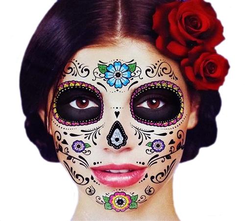 Glitter Floral Day Of The Dead Sugar Skull Full Face
