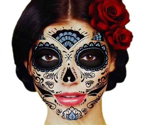 black glitter skeleton day of the dead temporary face