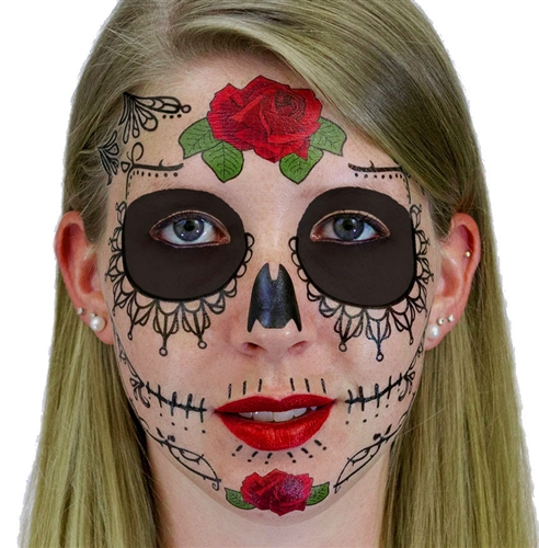 Lace sugar skull day of the dead temporary face tattoo for Face tattoo makeup