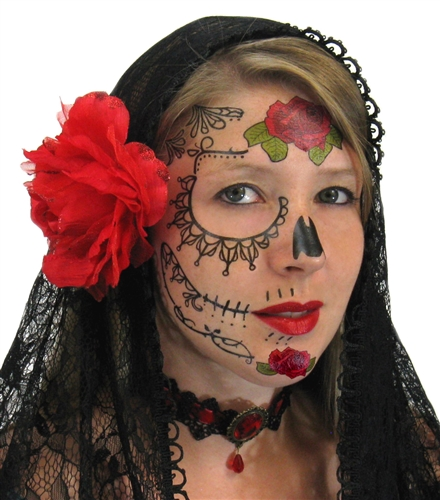 LACE SUGAR SKULL DAY OF THE DEAD TEMPORARY FACE TATTOO Hand Bones Tattoo