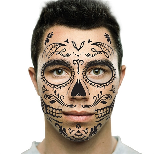 Black sugar skull day of the dead temporary face tattoo for Face tattoo makeup