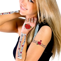 GLITTER RED ROSES DAY OF THE DEAD HAND & ARM BONES TEMPORARY TATTOO KIT
