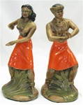 LARGE VINTAGE CERAMIC POLYNESIAN COUPLE FIGURINE