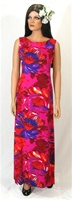 VINTAGE 1960's-70's NEON PANEL-BACK FLORAL DRESS - Size Small