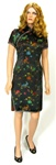VINTAGE BLACK BROCADE ASIAN CHEONGSAM DRESS - Size S-M
