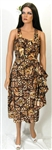 VINTAGE HAWAIIAN BROWN TAPA SARONG DRESS & JACKET - Size M