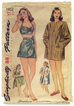 VINTAGE 2-PIECE  1940's SARONG BATHING SUIT PATTERN - SIZE 14 - Simplicity 1302