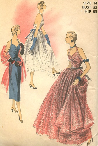 Vintage Uncut 40S Halter Evening Dress Pattern Size 40 Advance Inspiration Vintage Dress Patterns 1950s
