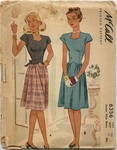 VINTAGE UNCUT 1940's DRESS PATTERN - SIZE 15 - McCall 6356