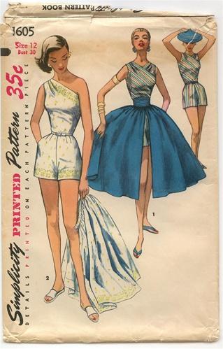 04b5363b882 Vintage Uncut 1950 S Playsuit   Skirt Pattern - Size 12 - Simplicity 1605