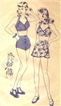 RARE VINTAGE 1940's PIN-UP GIRL 2-PIECE SARONG BATHING SUIT PATTERN - SIZE 14 - Hollywood 1341