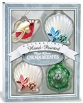 GLASS MINI OCEAN HOLIDAY CHRISTMAS ORNAMENT SET / 4
