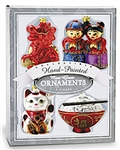 GLASS ASIAN HOLIDAY MINI ORNAMENT SET / 4 - SALE