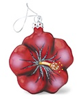 GLASS HIBISCUS FLOWER CHRISTMAS ORNAMENT - RED