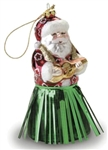 GLASS HULA SANTA CHRISTMAS ORNAMENT