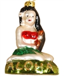GLASS HULA GIRL ORNAMENT