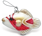 GLASS HOLIDAY HUMU FISH CHRISTMAS ORNAMENT