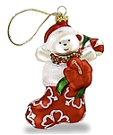 GLASS ISLAND STYLE STOCKING CHRISTMAS ORNAMENT